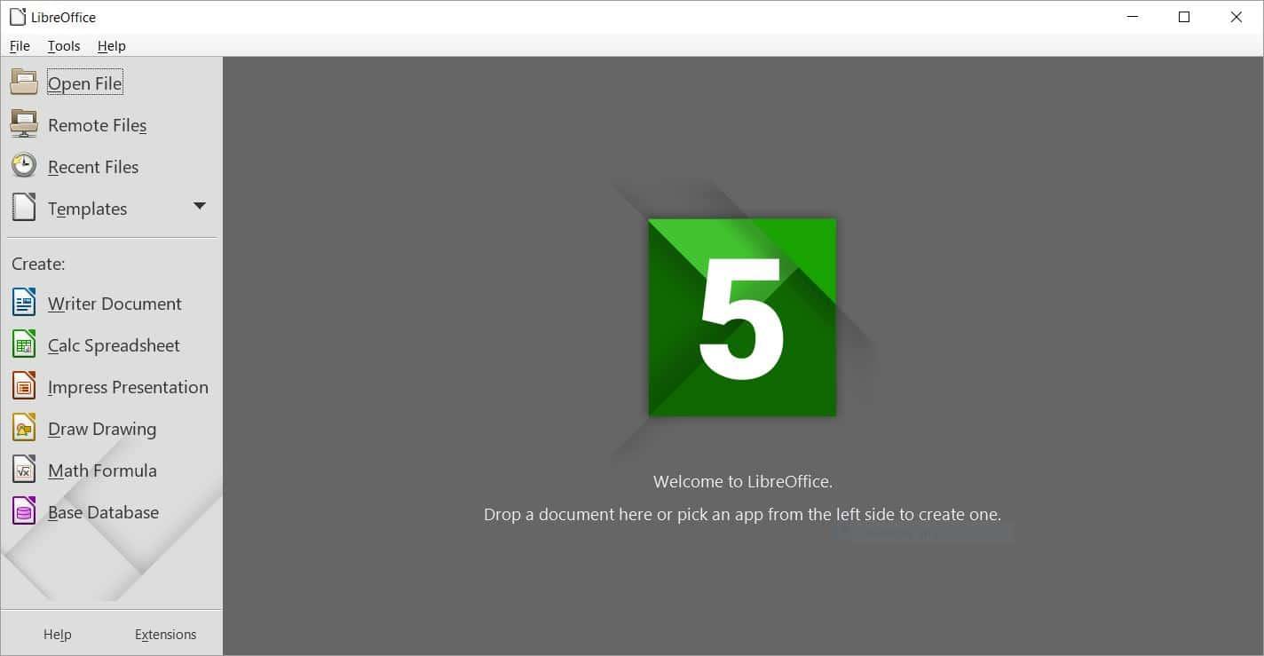 LibreOffice 5.1 Start Center
