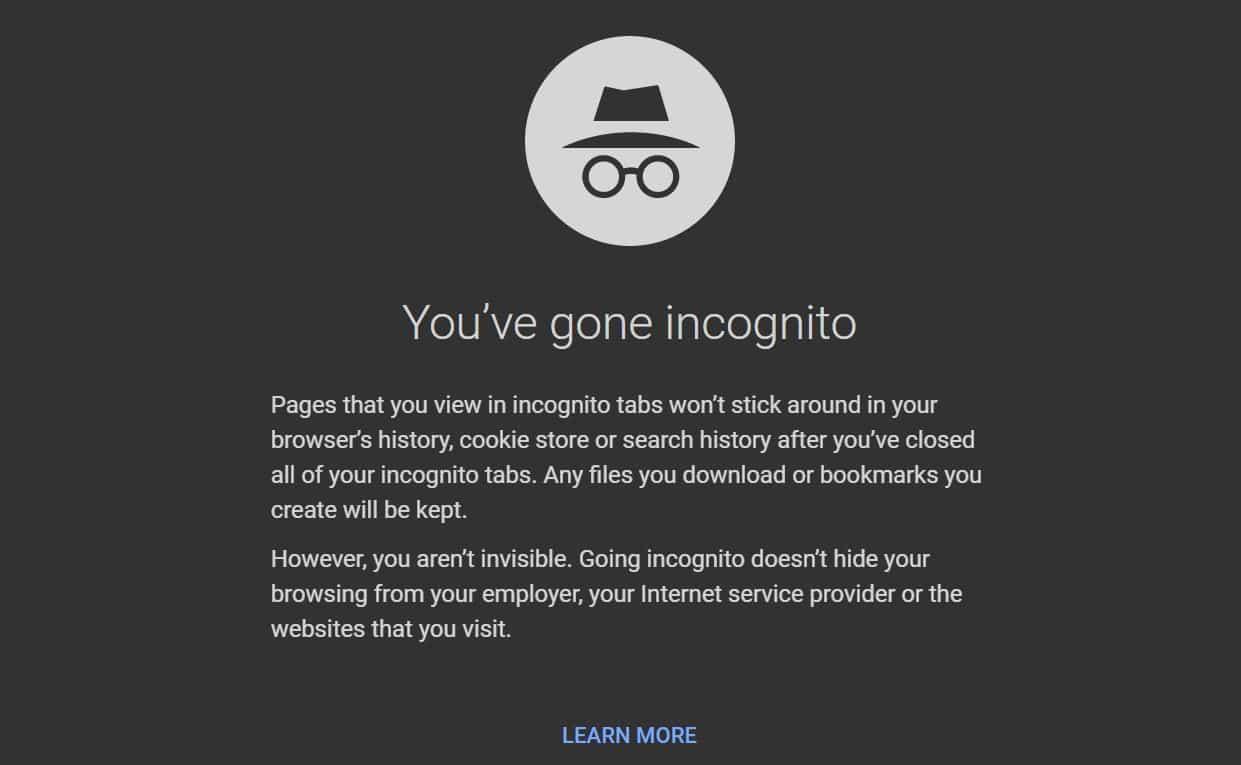 incognito private browsing