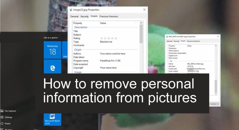 How to remove personal information from pictures